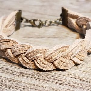 Genuine Tan Leather Bracelet with Bronze Adjustabl